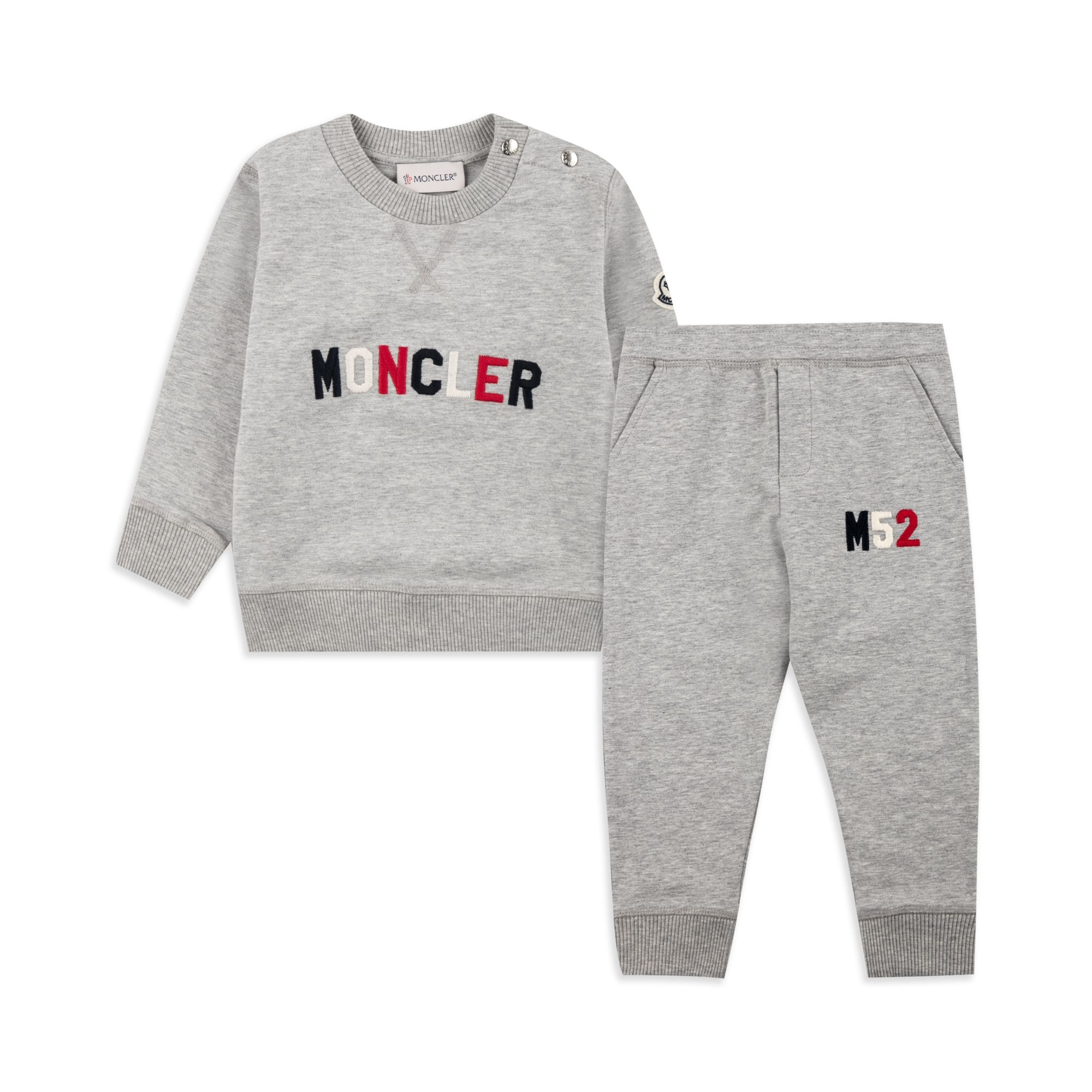 MONCLER Baby Boys Embroidered Logo Tracksuit - Grey Baby boys tracksuit • Soft stretchy cotton •