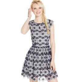 American Rag Fit and Flare Lace Cap-Sleeve Dress
