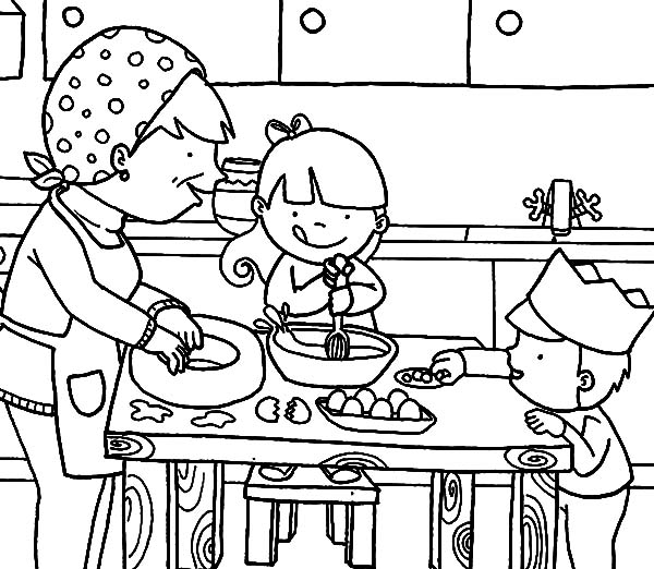 Cooking With Mom In The Kitchen Coloring Pages Download Print Online Coloring Pages For Free Online Coloring Pages Coloring Pages Coloring Pages For Kids