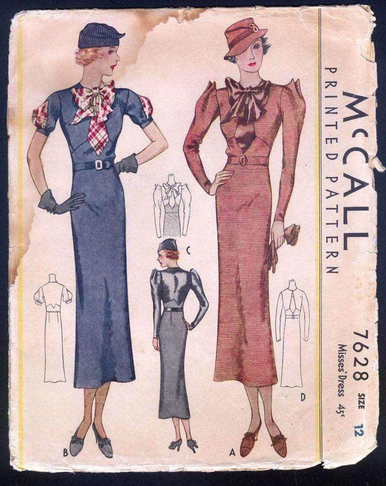 McCall 7628 | ca. 1933 Misses' Dress
