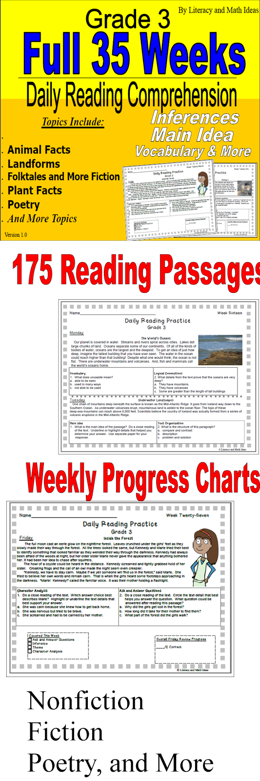 175 Reading Passages Are Included Nonfiction Fiction Animals Plant Facts History Poetry And More Reading Comprehension Reading Classroom School Reading [ 1600 x 533 Pixel ]