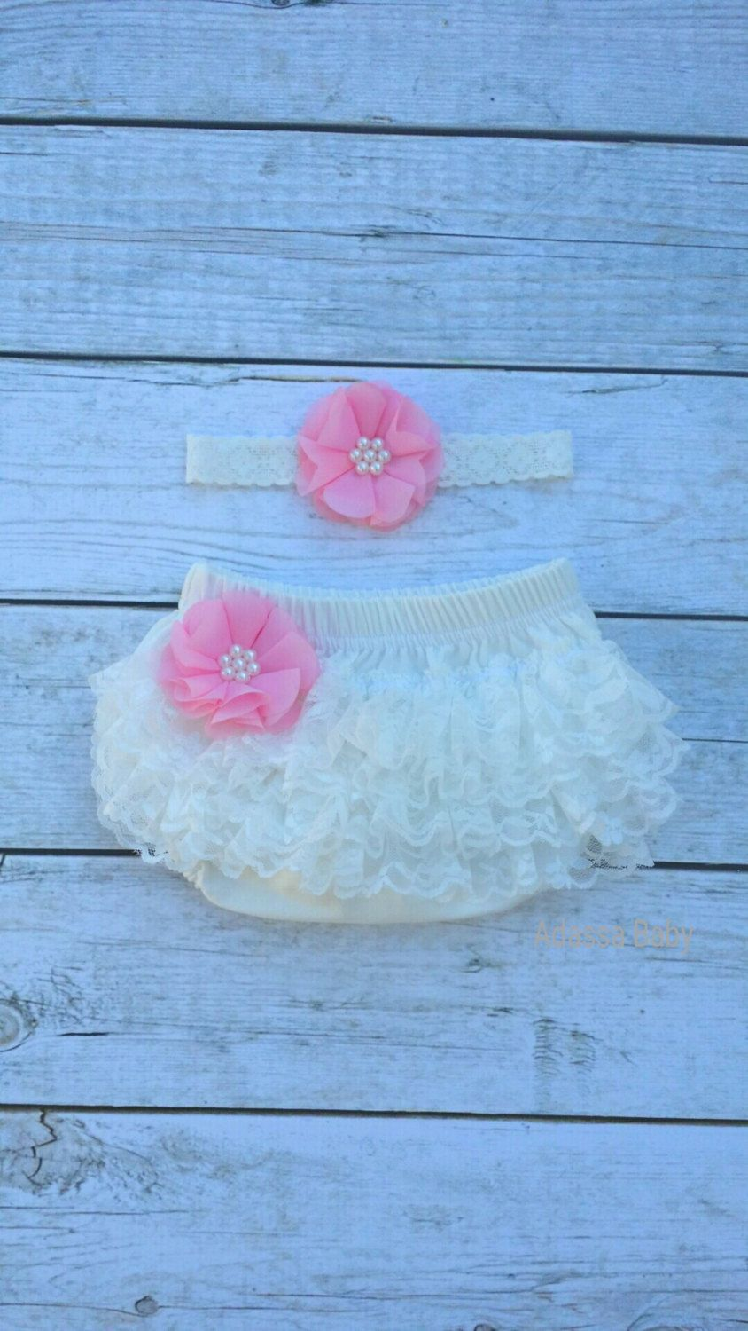 Newborn Outfit Ivory Baby Bloomer And Headband Set Infant Ivory Bloomer Headband Diaper Cover Newborn Headband Pink Headband Photo Prop by AdassaBaby on Etsy