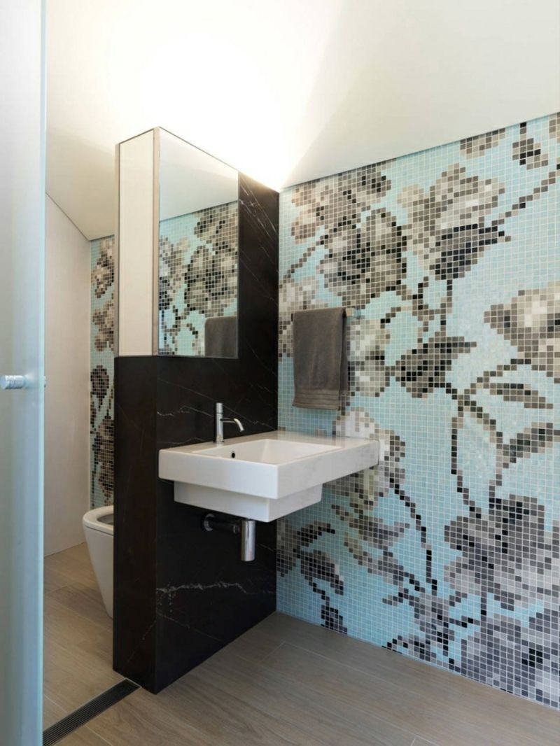 Wandfliesen Bad modern Mosaik florale Motive | Bathroom ...