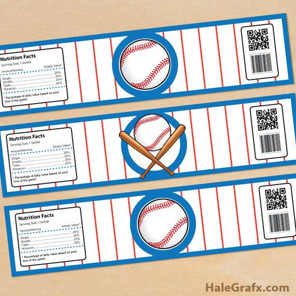 Free Printable Baseball Water Bottle Labels  Sports