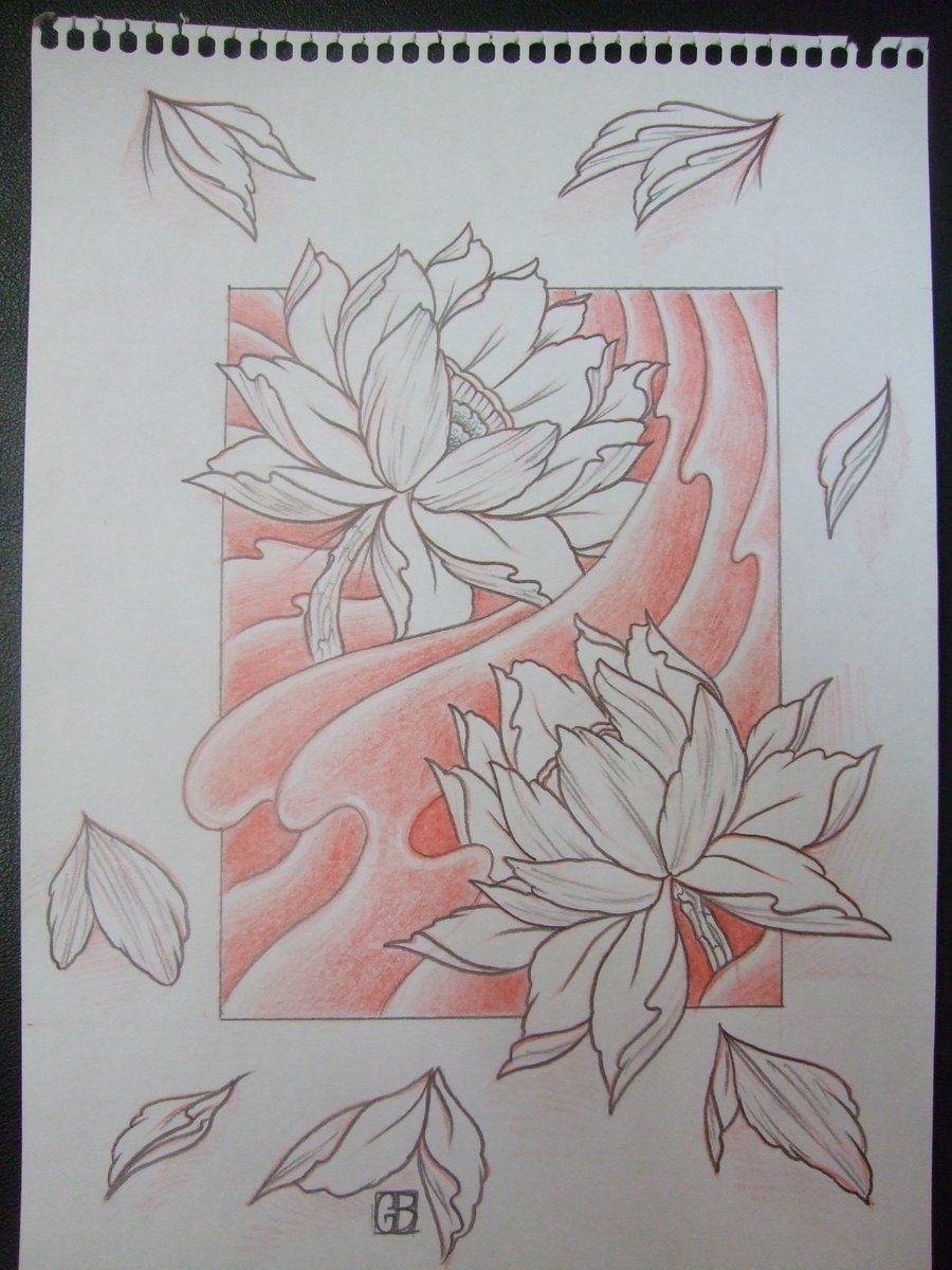 Lotus Flower Drawings For Tattoos Temporary Tattoo Sleeve Design