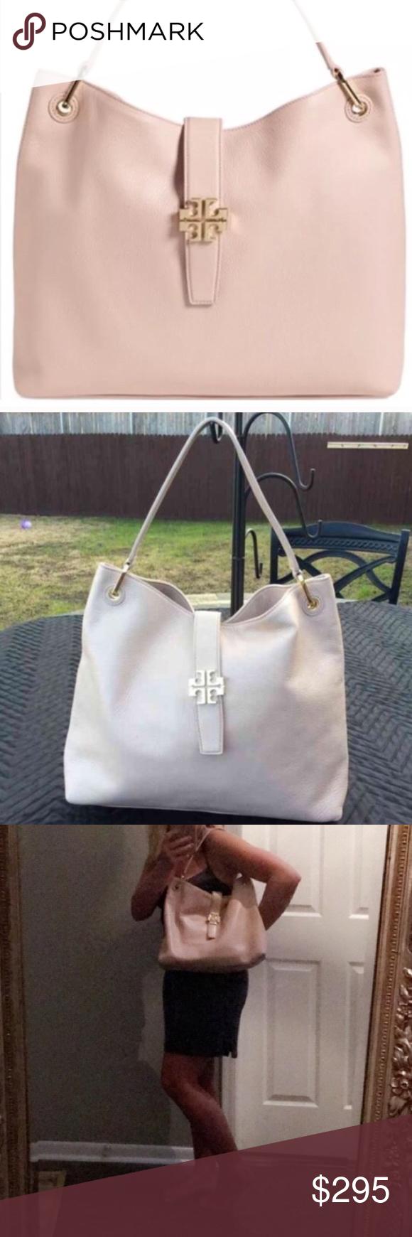 27b57aa73a6 Spotted while shopping on Poshmark  Tory Burch Blush Plaque Hobo!  poshmark   fashion  shopping  style  Tory Burch  Handbags