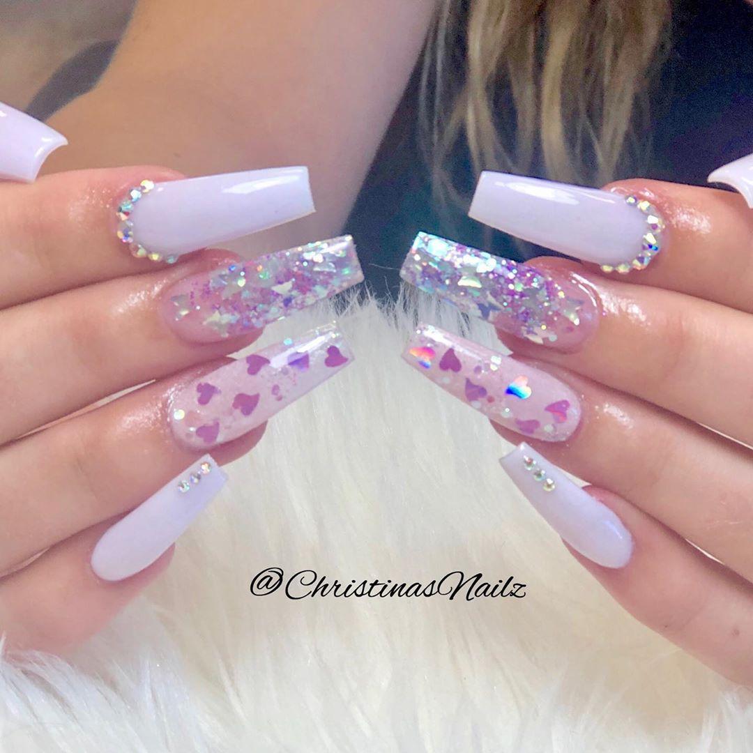 Coffin nails, elegant nails #swavorski #longnails #ombrenails - Nail Designs!