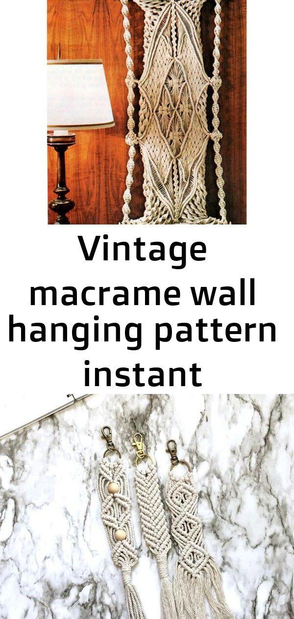 Vintage macrame wall hanging pattern instant download pdf pattern book: 9 patterns rug, pillow pla 4 #curtainfringe