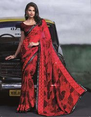 Red & Black Color Georgette Casual Party Sarees : Neharika Collection YF-28608