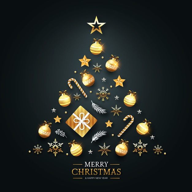 Download Christmas Tree Concept Made Of Realistic Golden Decoration For Free Christmas Tree Photography Boho Christmas Tree Christmas Vectors