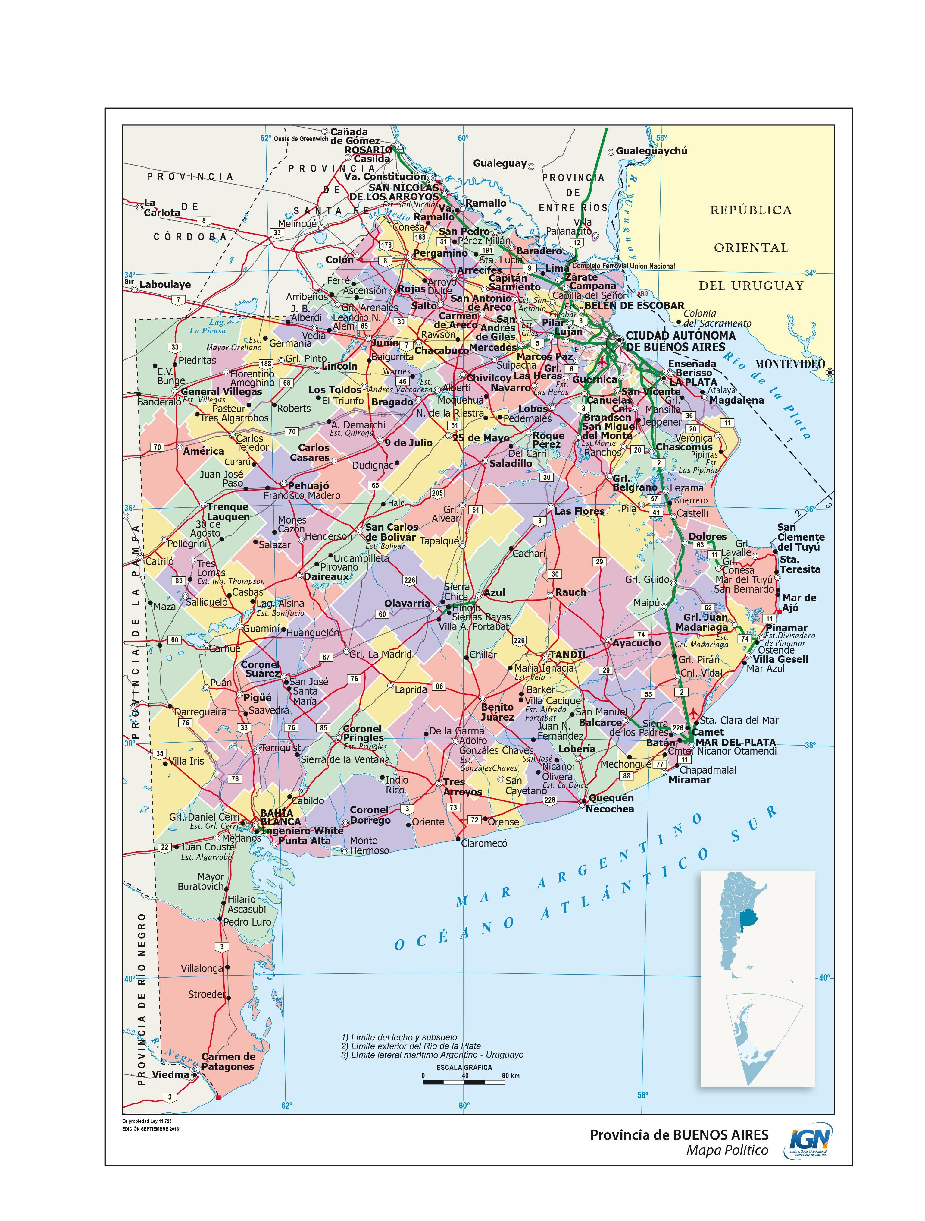 Mapa Político De Buenos Aires Instituto Geográfico Nacional De La República Argentina Fotos De Buenos Aires Mapa De Argentina Mapa Ciudad