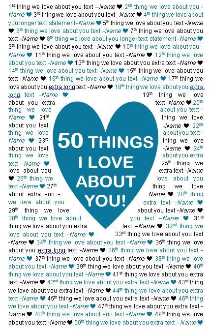 11x17 Template In Microsoft Word For 50 Things I Love Templates Words Happy Life
