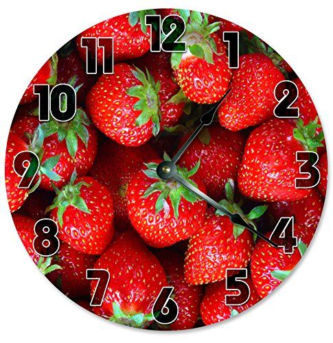 """Large 10.5"""" Wall Clock Decorative Round Wall Clock Home Decor Novelty Clock STRAWBERRIES. This is not a wood clock this is an image custom printed onto an OPEN FACE CLOCK with the no cover over the top. This clock does not need a frame. It is a rigid 1/8"""" thick hard masonite wood base clock face with a quartz clock movement mounted on the back. There is a built-in hanger on the back of the clock movement for easy hanging. Each clock in the shop are handmade to order. This is not a store..."""