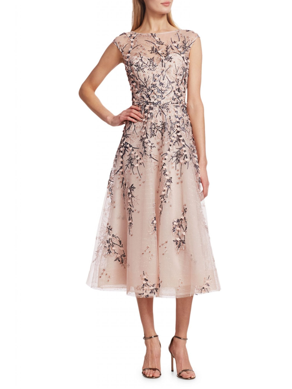 TERI JON BY RICKIE FREEMAN Tulle Floral Lace Dress - We Select