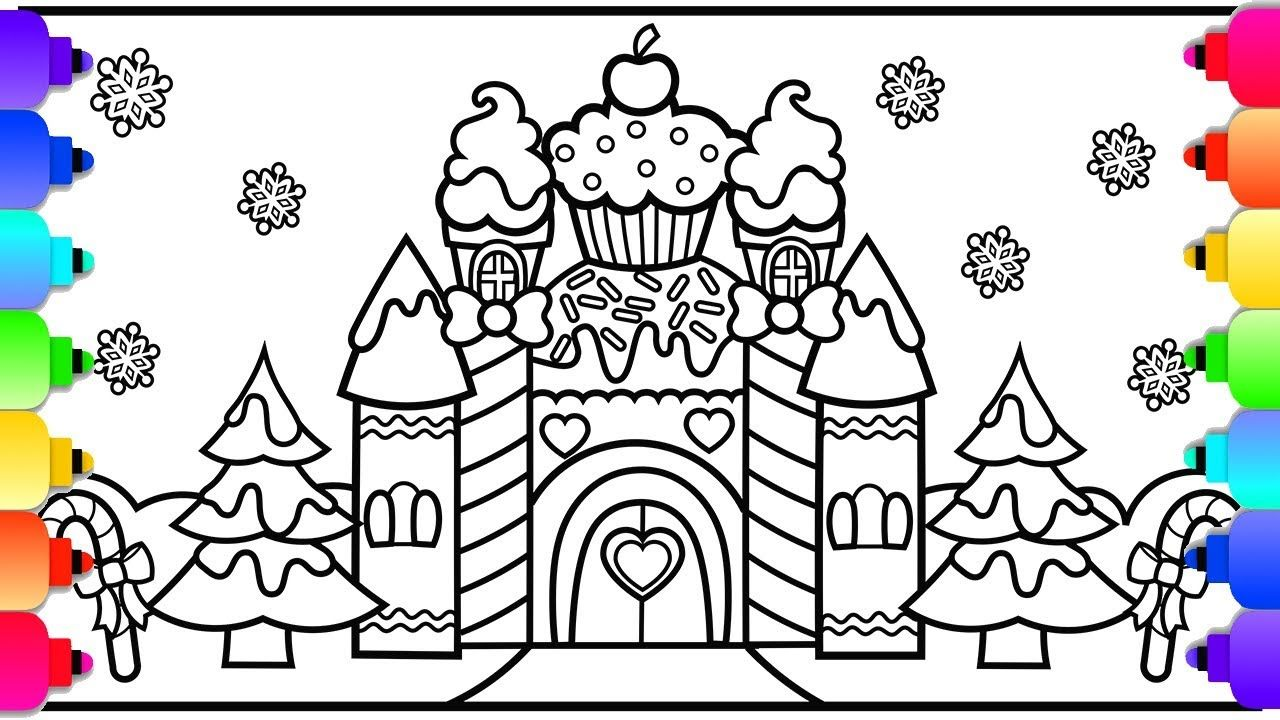 How To Draw A Castle Candy Land Castle Coloring Page Christmas Color Castle Coloring Page Candy Drawing Christmas Coloring Pages