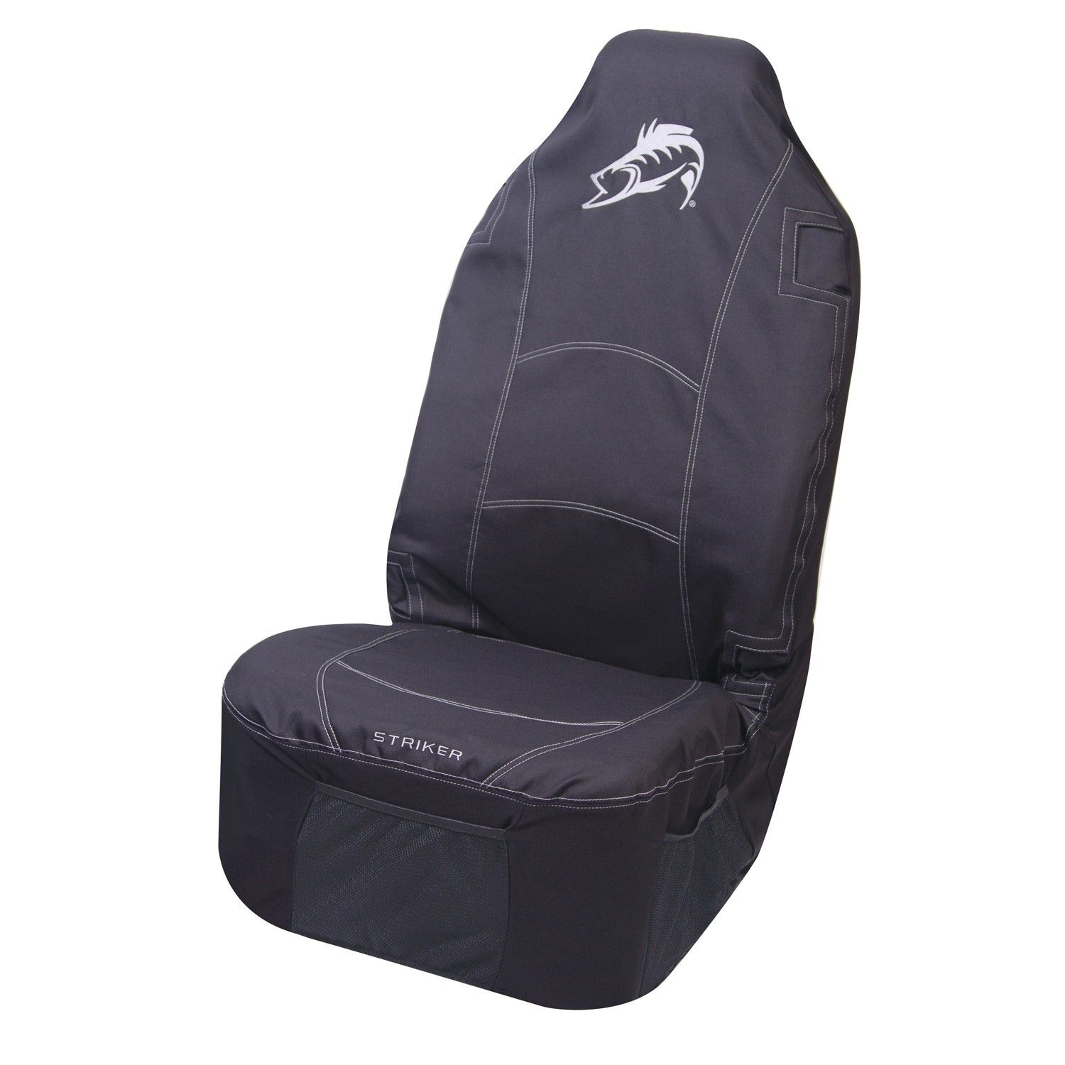 Striker fish theme universal seat cover his camo for Fishing bucket seat