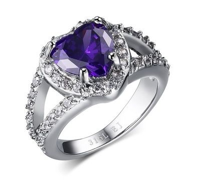 AN UNUSUAL PURPLE  GLASS /&  STAINLESS STEEL  MENS  LADIES RING NEW. SIZE T
