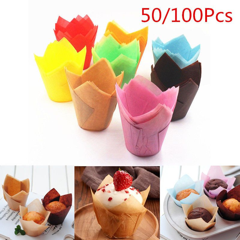 50pcs Diy Tulips Cupcake Liners Paper Cake Baking Cup Muffin Cases Weeding Party No Bake Cake Baking Cups Cupcake Liners