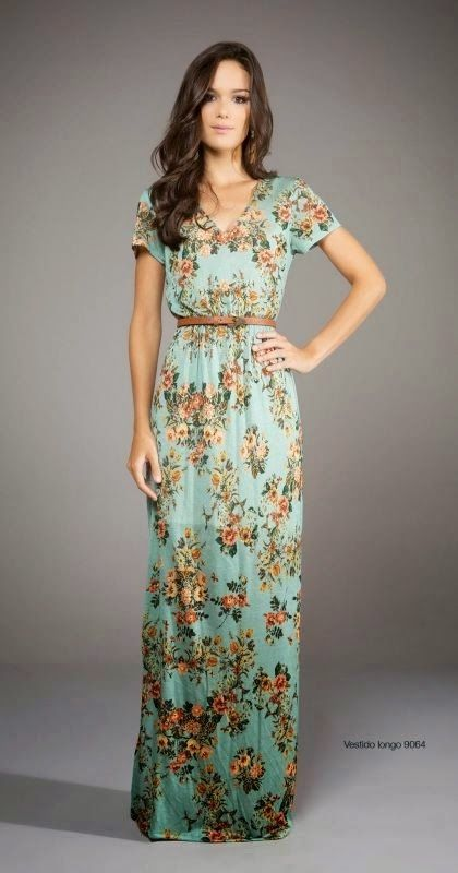 see more Adorable Green and Flower Stripped Long Women Dress