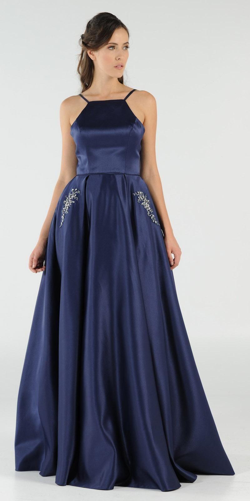 Navy Blue Long Satin Prom Dress Halter Spaghetti Strap with Pockets