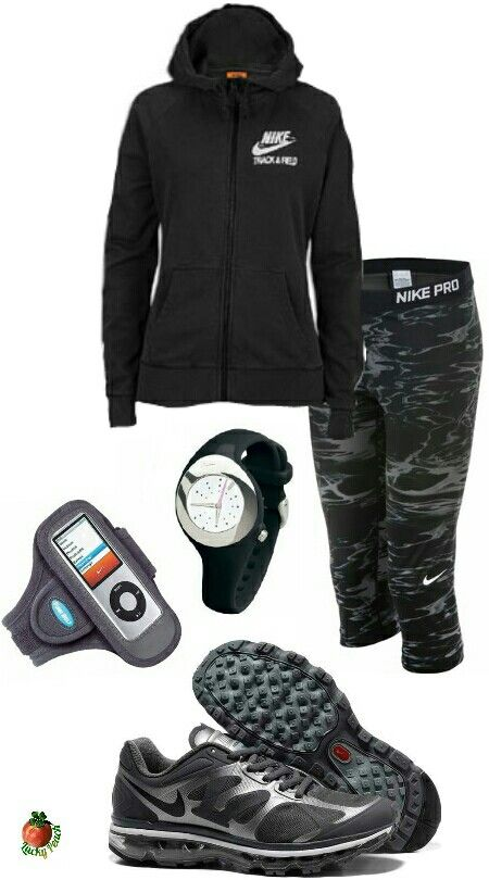 Women's fashion black and gray nike outfit