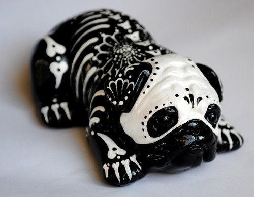 Sugar Skull Bully Pug Art Black Pug Puppies Black Pug