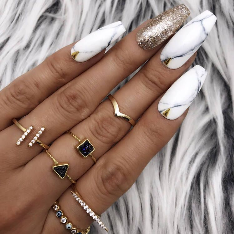 Black White Marble Gold Foil Leaf Studs Press On Nails Any Etsy Glue On Nails Fake Nails Press On Nails
