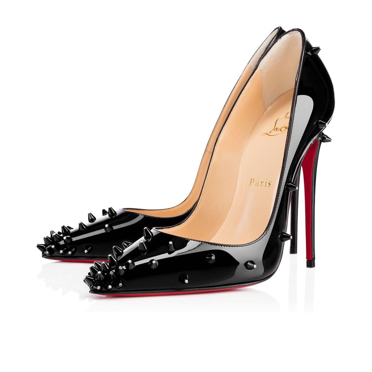 Diamond Spike 120 Black Patent Leather - Women Shoes - Christian Louboutin