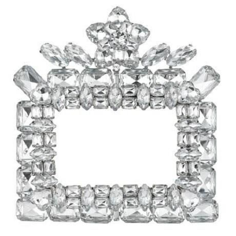 Dimensions: Frame size: 4.5 x 4.75 Photo size:2 X 3  Material / Finish: Swarovski Crystals  Finish: Silver  Color: Clear  Price: $61.25