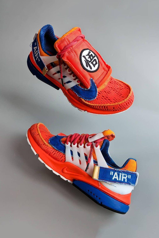 various colors d8461 d4e01 off white nike air presto Dragon Ball Z Goku custom sneaker orange red blue  white virgil abloh dbz