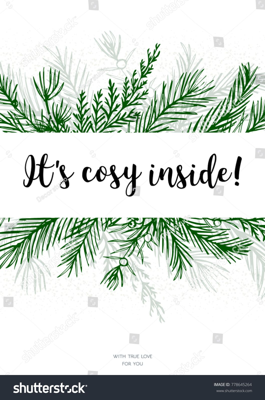 merry christmas new year greeting card postcard vector design hand drawn green greenery winter