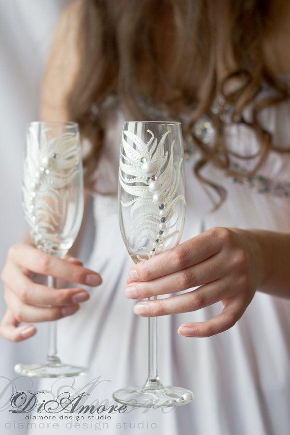 Fashion wedding champagne glasses / Peacock Feather от DiAmoreDS, $52.00