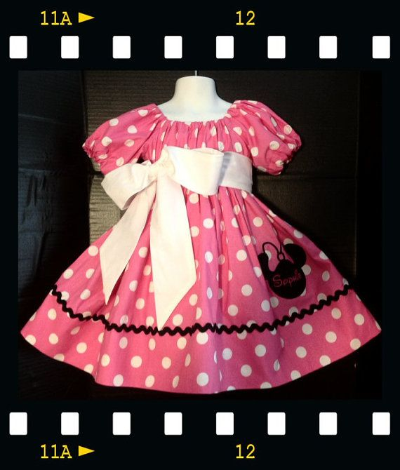 Custom Made Minnie Mouse DRESS Embroidered Birthday Outfit Princess Applique Ears NAME Inspired Bow Pink Polka dot 24m 2t 3t 4 5 6