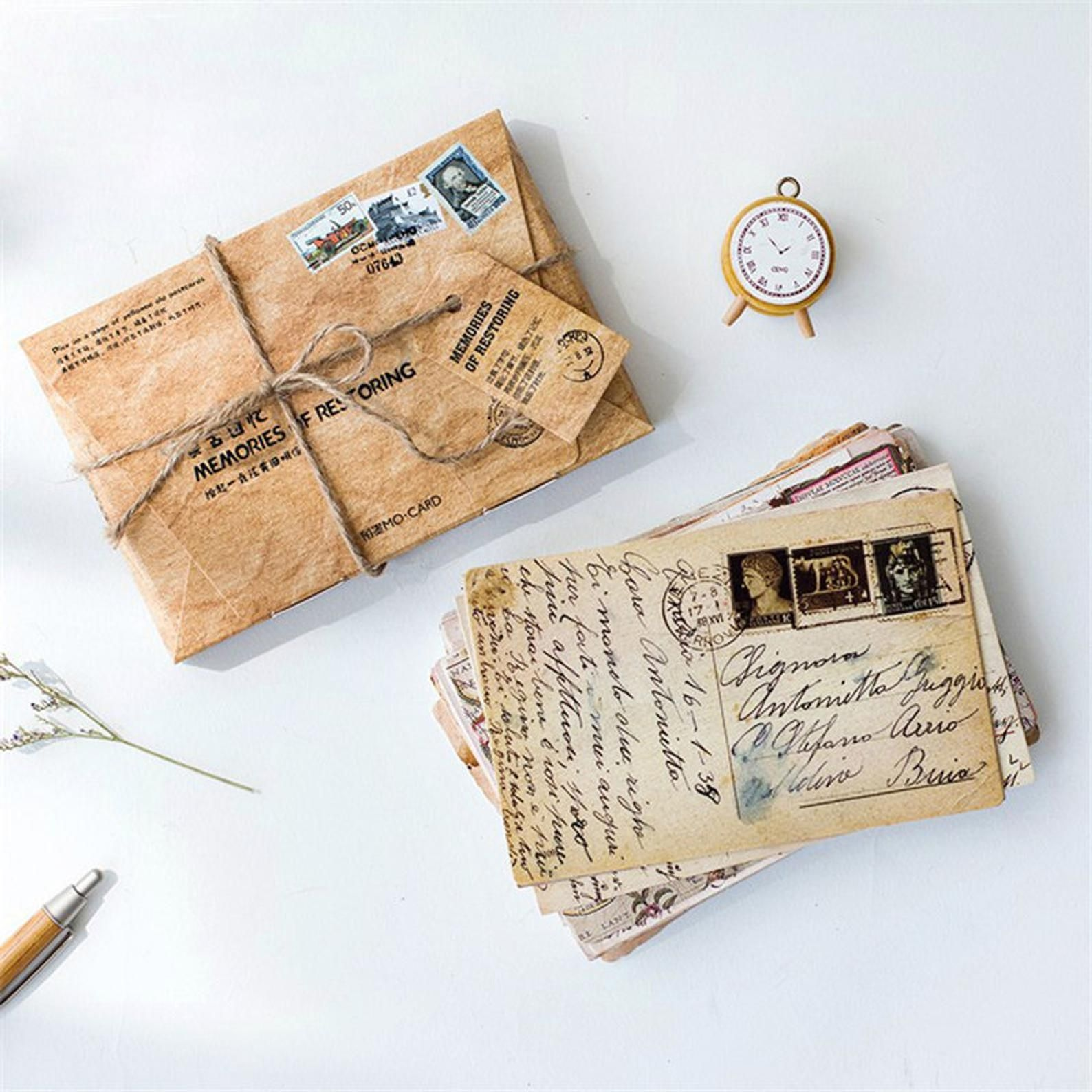 Vintage Postcards By Mocard Set Of 30 Retro Antique Style Etsy In 2020 Diy Letter Cards Greeting Card Envelope Birthday Card Messages