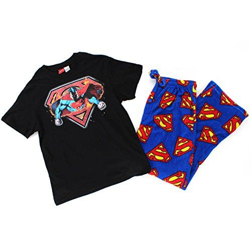DC Comics Mens 2 pc Pajamas Set (Small, Black/Blue Superman Fire) DC Comics http://www.amazon.com/dp/B00WX16K9E/ref=cm_sw_r_pi_dp_0lpvvb0VT1YM4