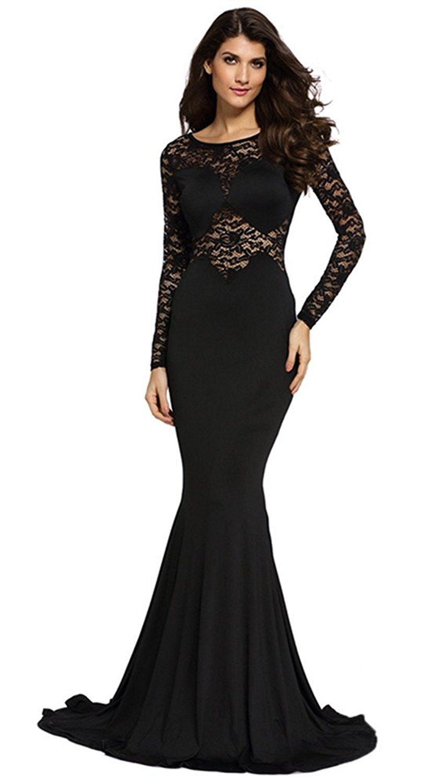 Cfanny womens lace sleeves mermaid prom evening dress