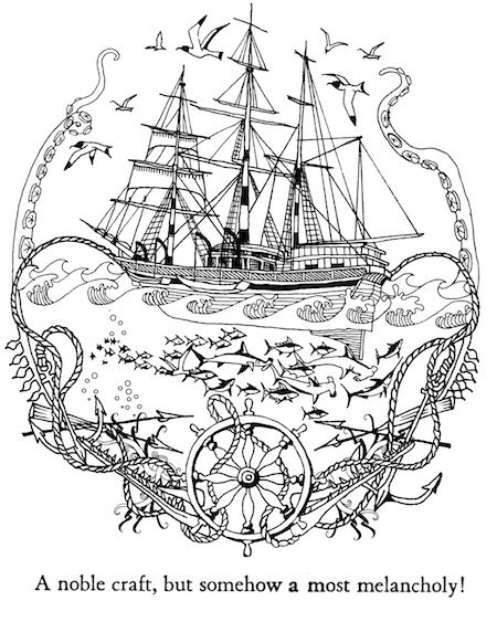 Complex ship nautical art hard coloring pages for adults