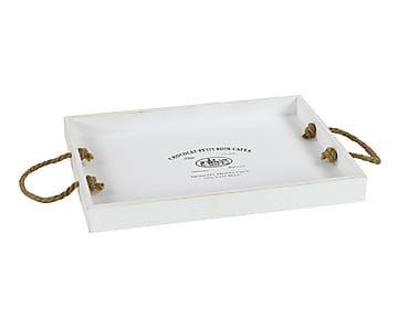 Bandeja de DM con asas de cuerda - blanco