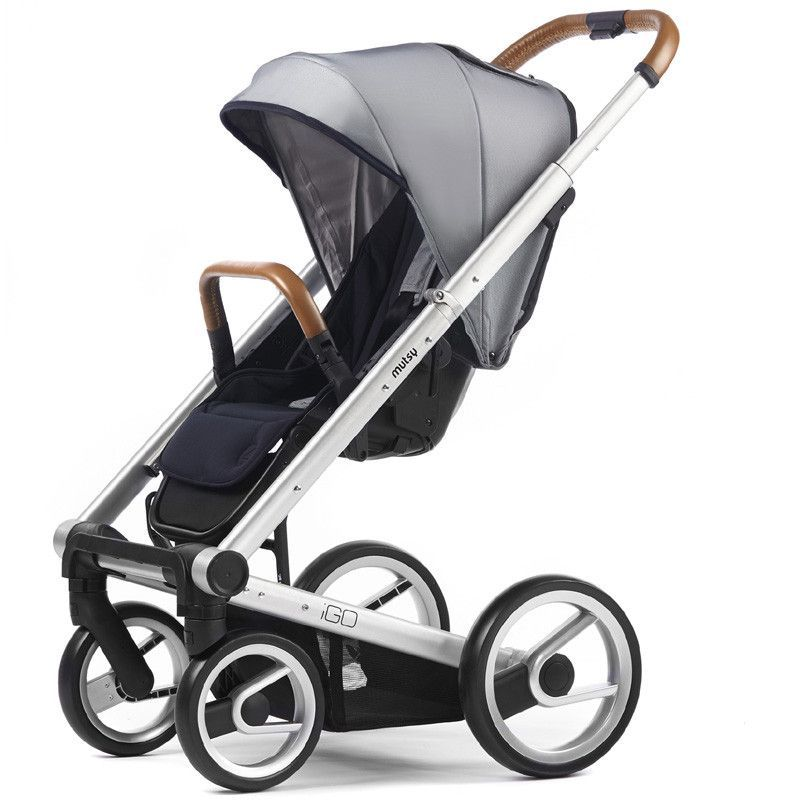 Mutsy Igo Urban Nomad Stroller - White and Blue with Silver Frame ...