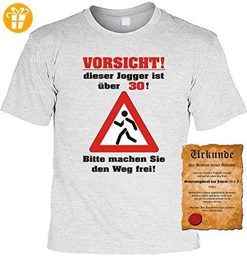 Zum 30.Geburtstag lustiges Geburtstags T-shirt : Vorsicht! dieser Jogger  ist über