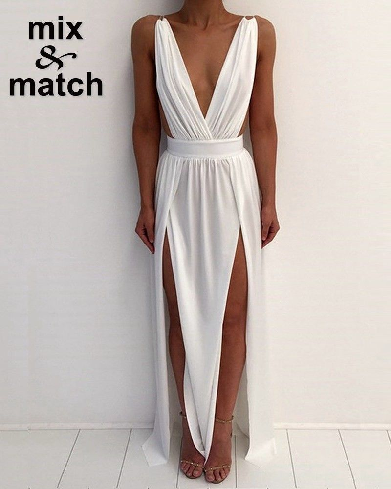 Elegant white v neck backless long dress with style pinterest