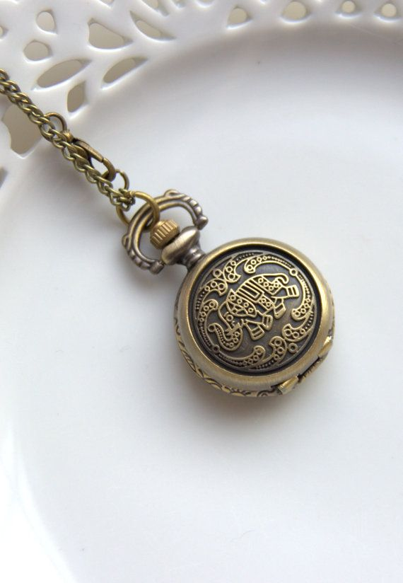 SALE 30 OFF Small Pocket Watch Elephant Vintage Style by Wrhs11, €17.50