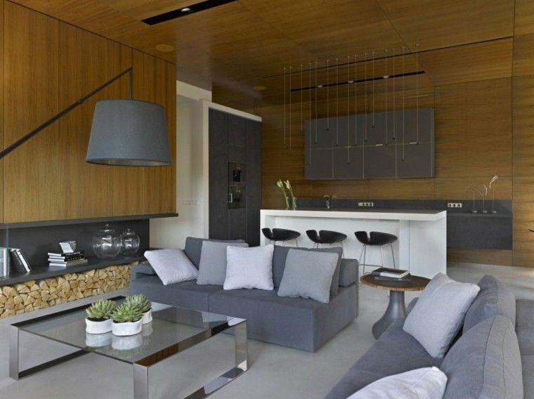pared madera sofas grises salon moderno ideas