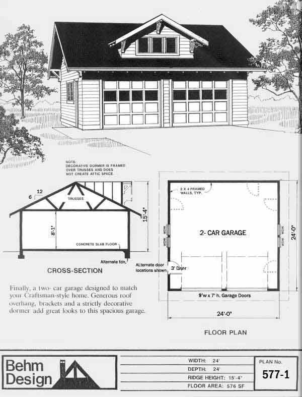 Dormer 2 Car Craftsman Style Garage Plan With One Story 577 1 24