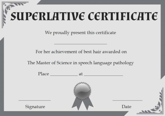 Class Superlative Certificate Templates Superlative Certificate