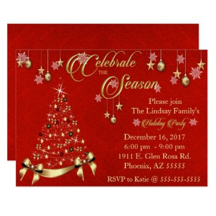 Elegant Red Sand Holiday Party Card - Xmas ChristmasEve Christmas