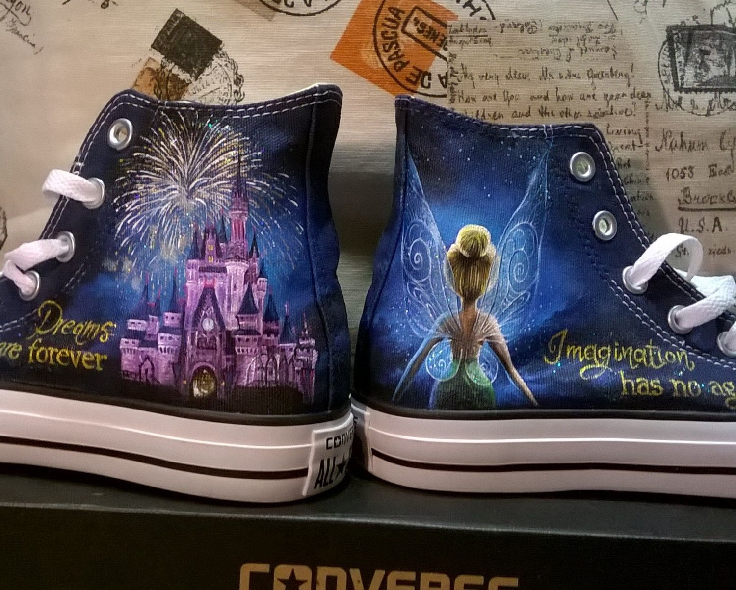 Disney hand painted shoes disney shoes tinkerbell shoes