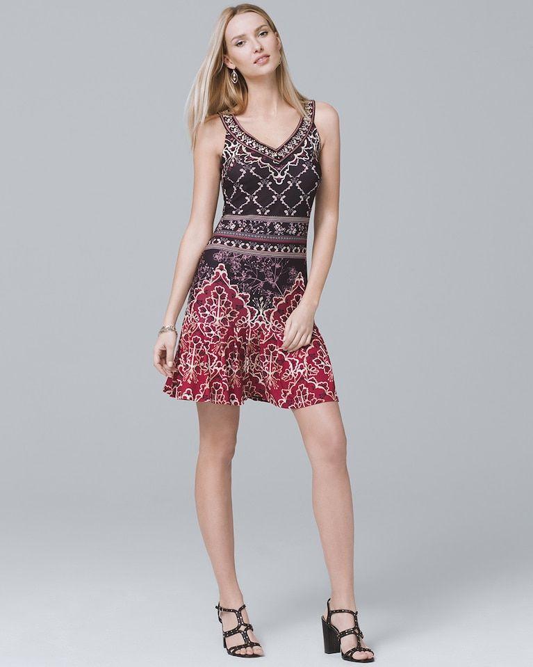 756974aa Women's Embroidered V-Neck Flounce-Hem Knit Sheath Dress by White House  Black Market