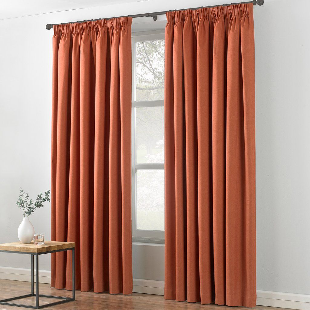 Textile Warehouse Indra Burnt Orange Pencil Pleat Curtains
