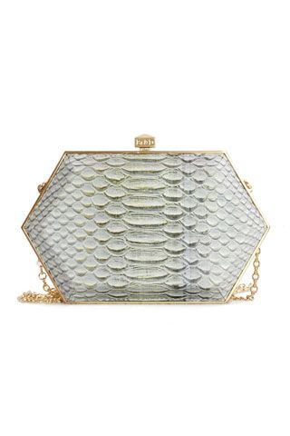 Be & D Spring 2013, Python clutch with octagon styling. It's a modern take to try with evening dressing!